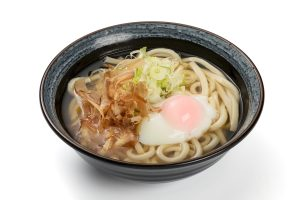 Udon noodles with poached egg