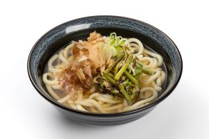 Udon noodles with mountain vegetables