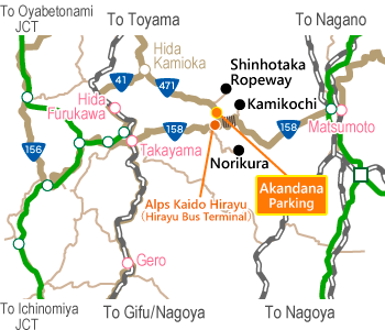 Akandana Parking Access Map(広域)