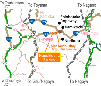 Norikura Access Map(広域)