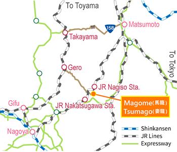 馬籠・妻籠線アクセスマップ(広域)